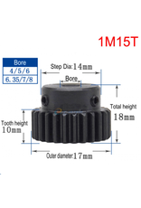 Hobby Creations Steel Pinion Gear With Step 1M15T 8mm shaft