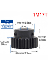 Hobby Creations Steel Pinion Gear With Step 1M17T 8mm shaft