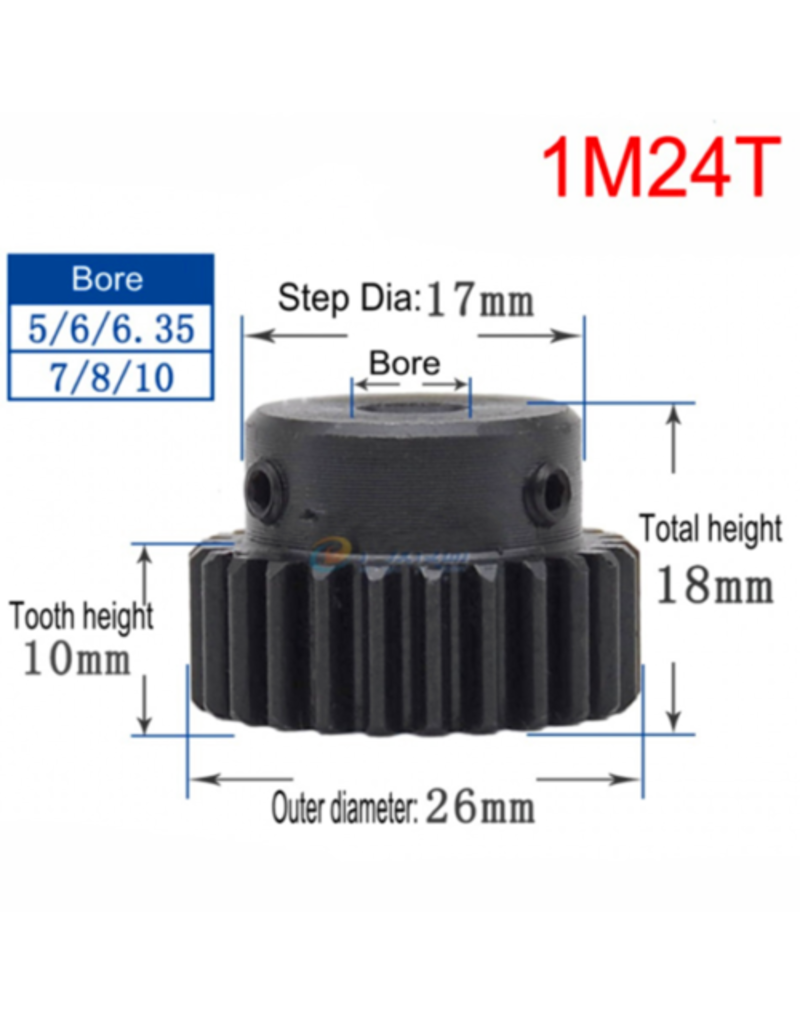 Hobby Creations Steel Pinion Gear With Step 1M24T 8mm shaft