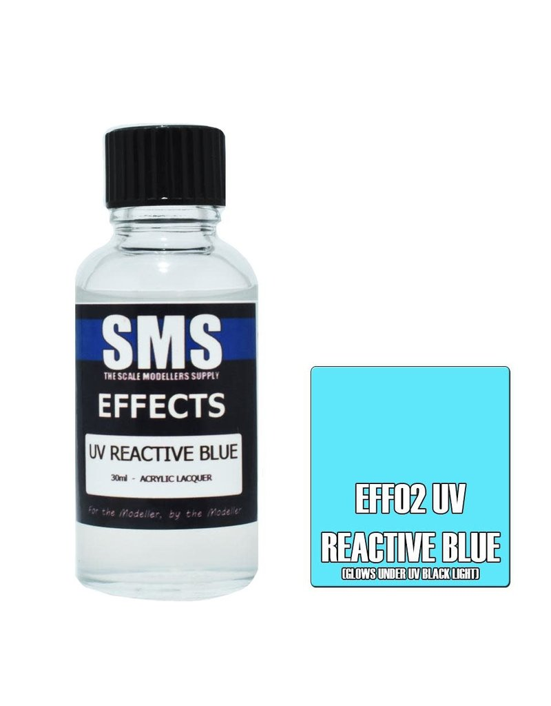 The Scale Modellers Supply Effects Acrylic Lacquer UV REACTIVE BLUE 30ml