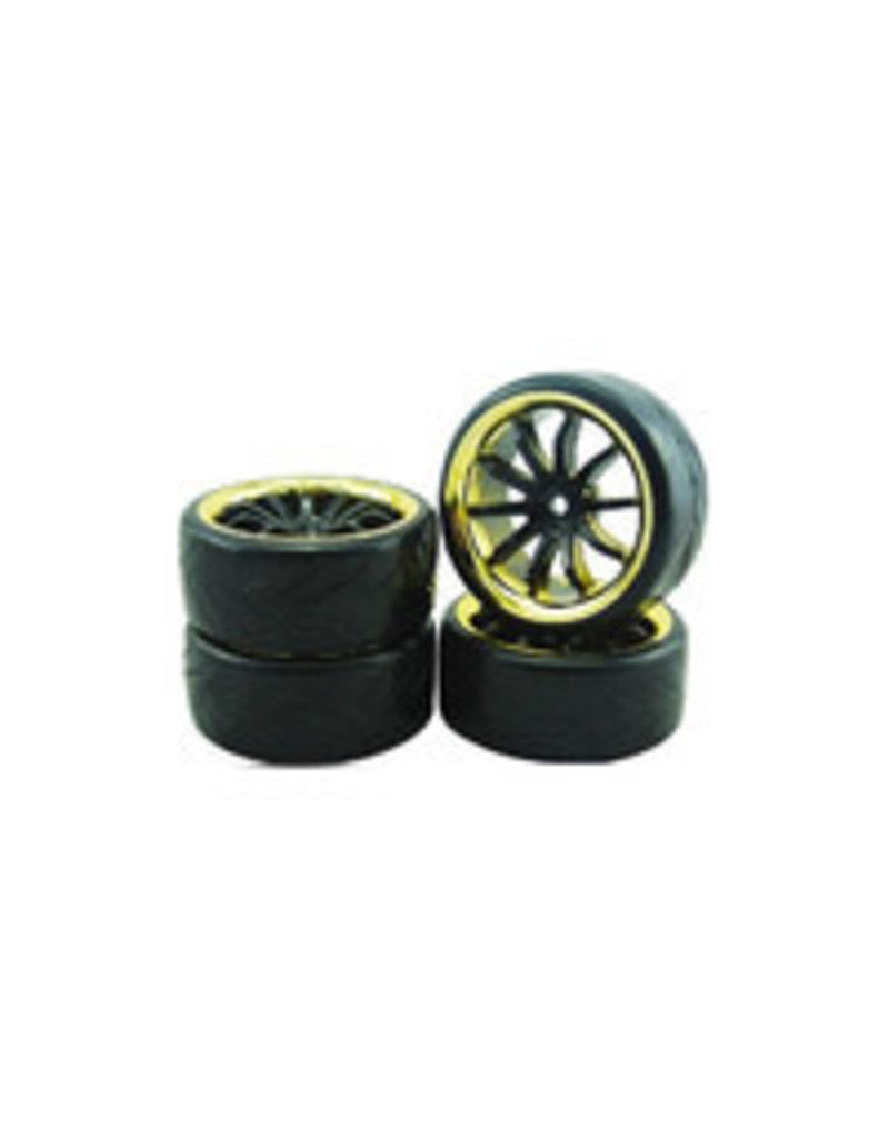 Vision RC 1/10 DRIFT 10-SPOKE TIRE SET-GOLD/BLACK