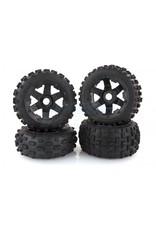 "Rovan Rovan 4.7/5.5"" Baja 5B Bow Tie Tyres on Black Rims - Beadlocked Wheel Set"