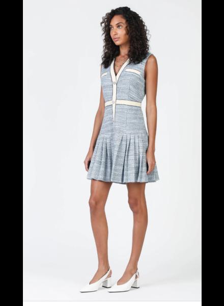 Current Air Blue Tweed Pleated Hem Dress