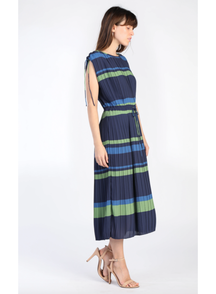 Current Air Sleeveless Pleated Bold Striped Dress