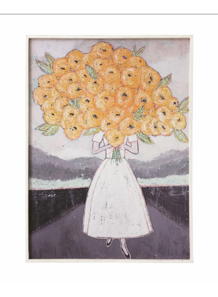 Creative Co-op Girl with Yellow Flowers Wall Decor