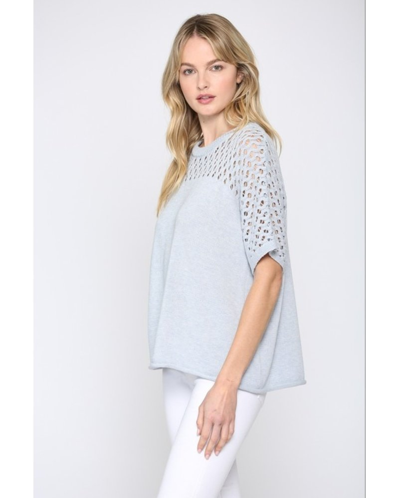 Fate Baby Blue Sweater with Lattice Detail