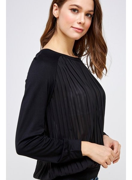 Solution Clothing Pleated Black Semi Sheer Top