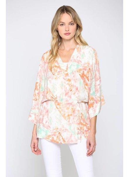 Fate Multi Color Tie Dye Print Kimono