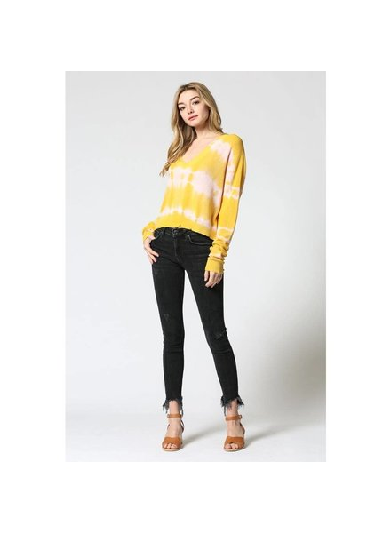 Fate Distressed Tie Dye V Back Sweater