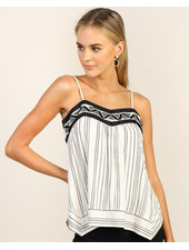 Skies Are Blue Embroidered Stripe Camisole
