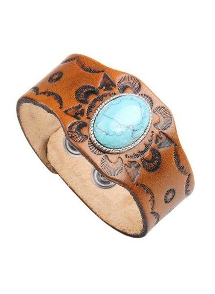 Koko & Lola Embossed Leather Turquoise Bracelet