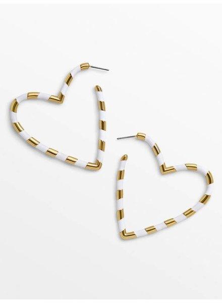 Koko & Lola White & Gold Open Heart Earrings