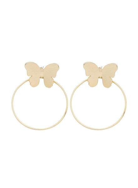 Koko & Lola Gold Butterfly Hoop Earrings