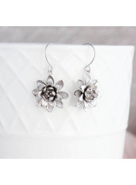 A Pocket of Posies Silver Lotus Flower Earrings