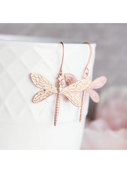 A Pocket of Posies Rose Gold Dragonfly Earrings