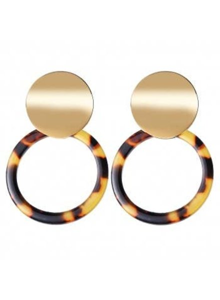 Koko & Lola Gld/Tortoise Hoop Earrings