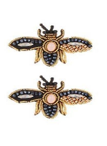 Koko & Lola Bee Beaded Navy/Gld Earrings