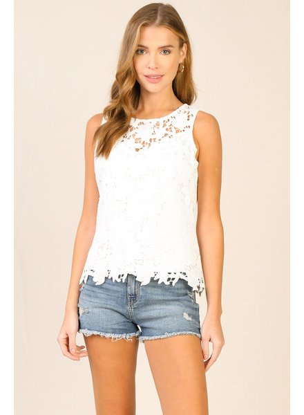 Skies Are Blue Lace Detailed Cut-Out Top
