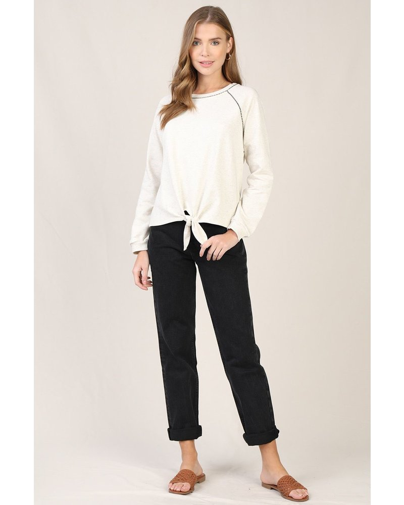 Skies Are Blue Ivory Knit Tie Top