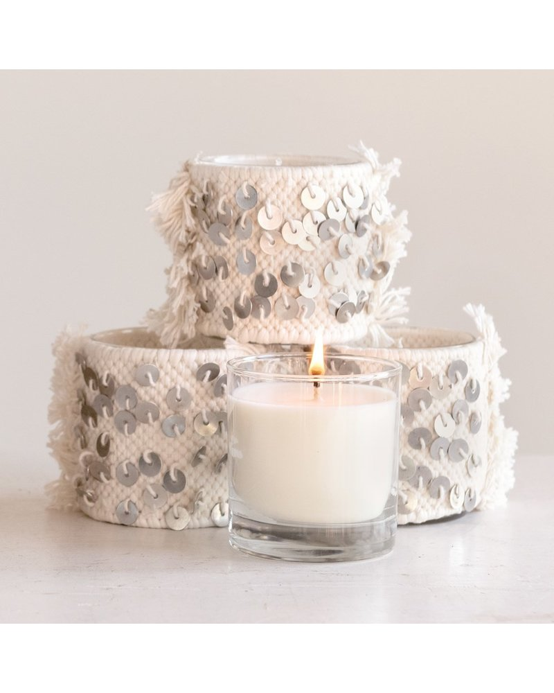 Creative Co-op Rosemary Mint Candle in Sequined Cotton Sleeve
