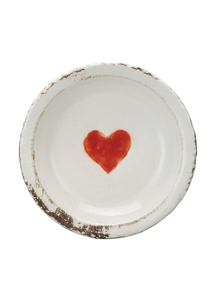 Creative Co-op Distressed Heart Terra Cotta Dish