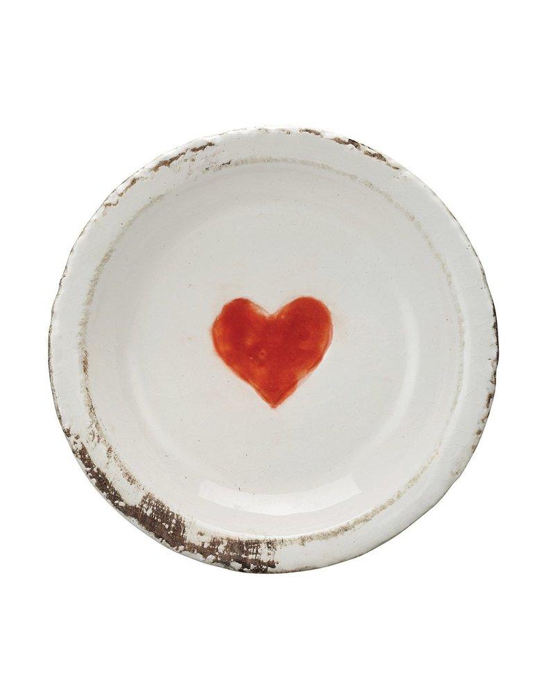 Creative Co-op Distressed Heart Terra Cotta Dish