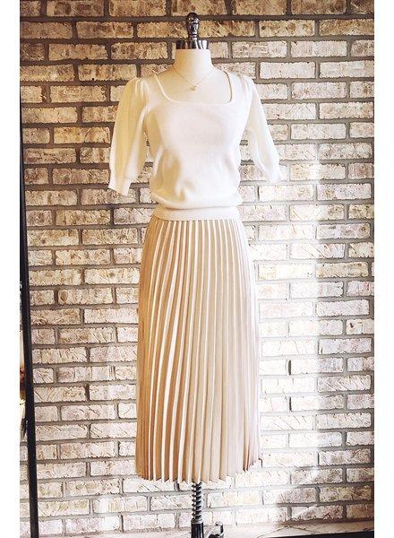 Sans Souci Ivory Pleated Satin Midi Skirt