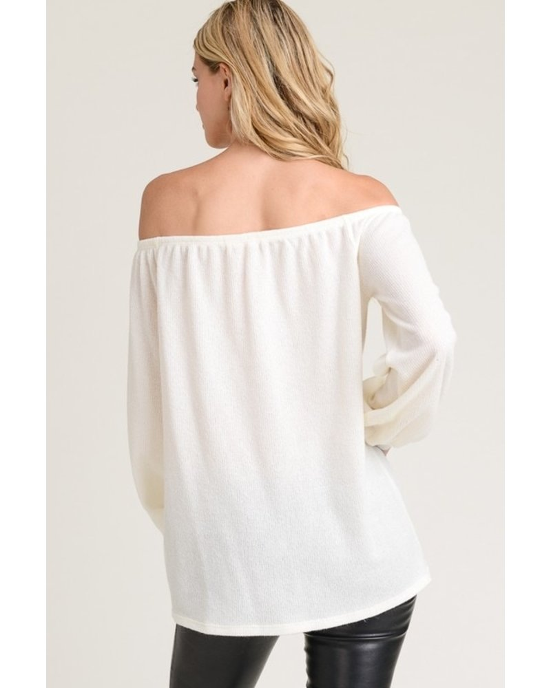 First Love Button Front Off The Shoulder Ivory Top