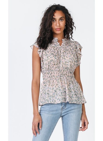 Current Air Pink Ditsy Floral Print Top