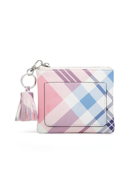 Jen & Co Pink/Blue Plaid Coin Pouch
