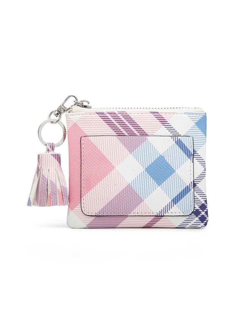 Jen & Co Pink/Blue Plaid Coin Pouch