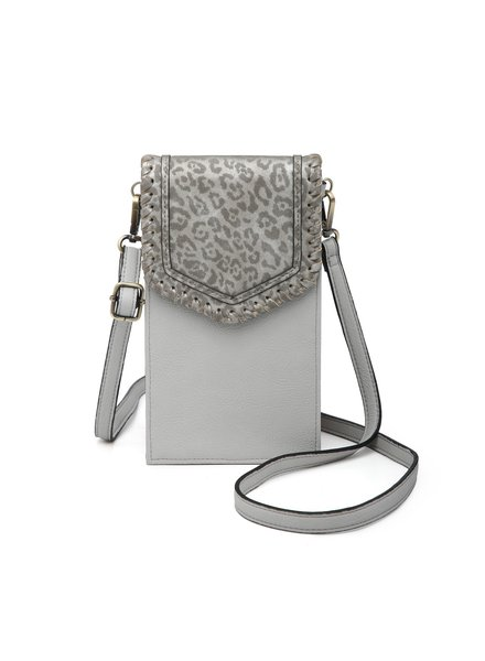 Jen & Co Dk Silver Cheetah Touch Screen Purse