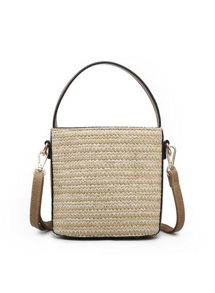 Jen & Co Taupe Woven Wicker Bucket Bag