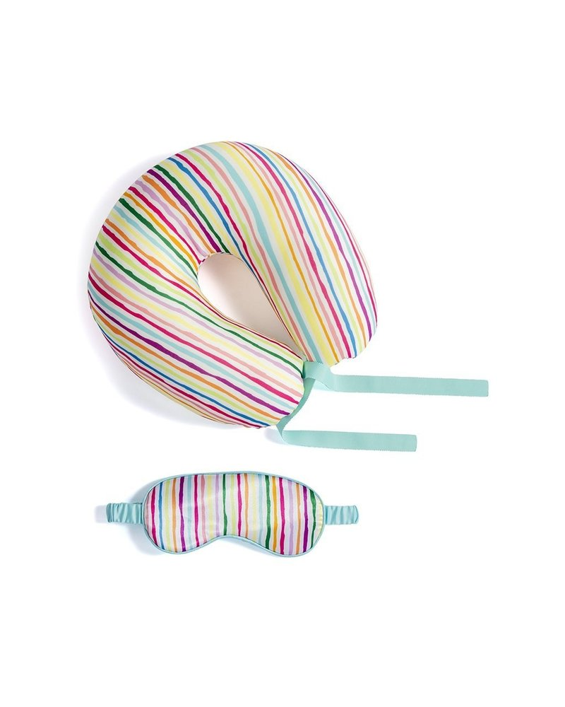 Shiraleah Multi Color Travel Neck Pillow & Eye Mask
