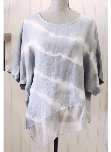 Tempo Paris Sky Blue Linen Top