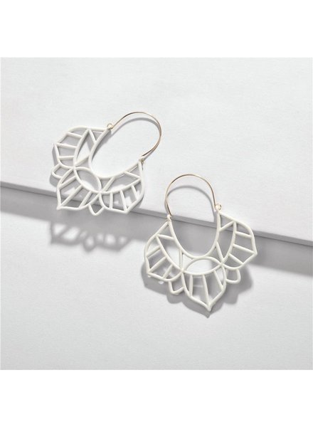 Koko & Lola White Geo Vintage Earrings
