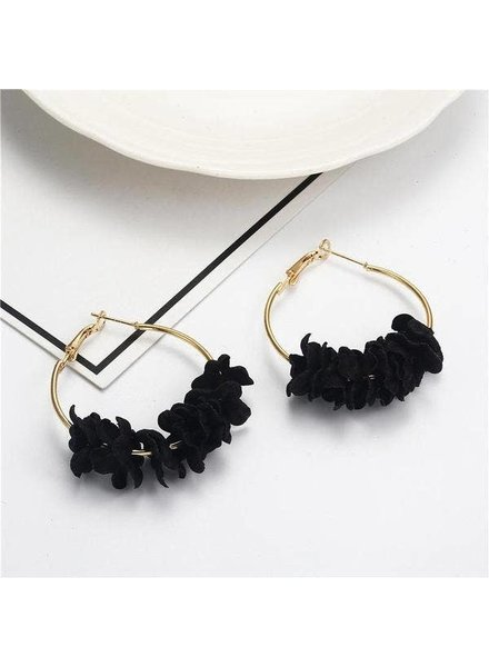 Koko & Lola Black Cotton Flower Hoop Earrings