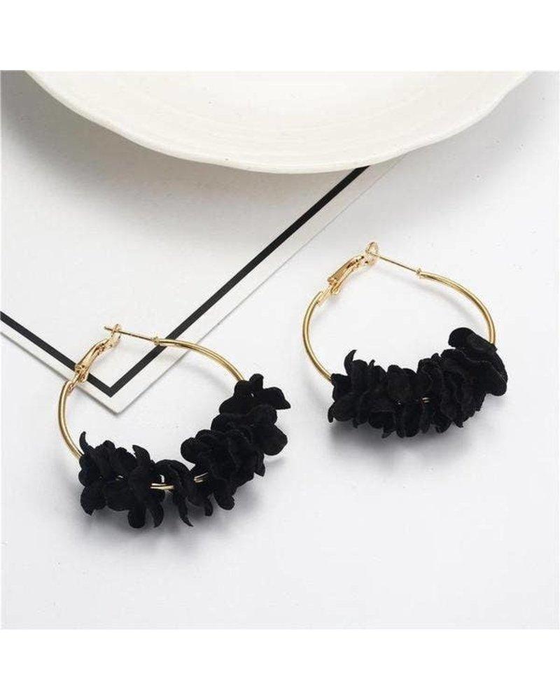 Koko & Lola Black Cotton Flower Hoop Earrings