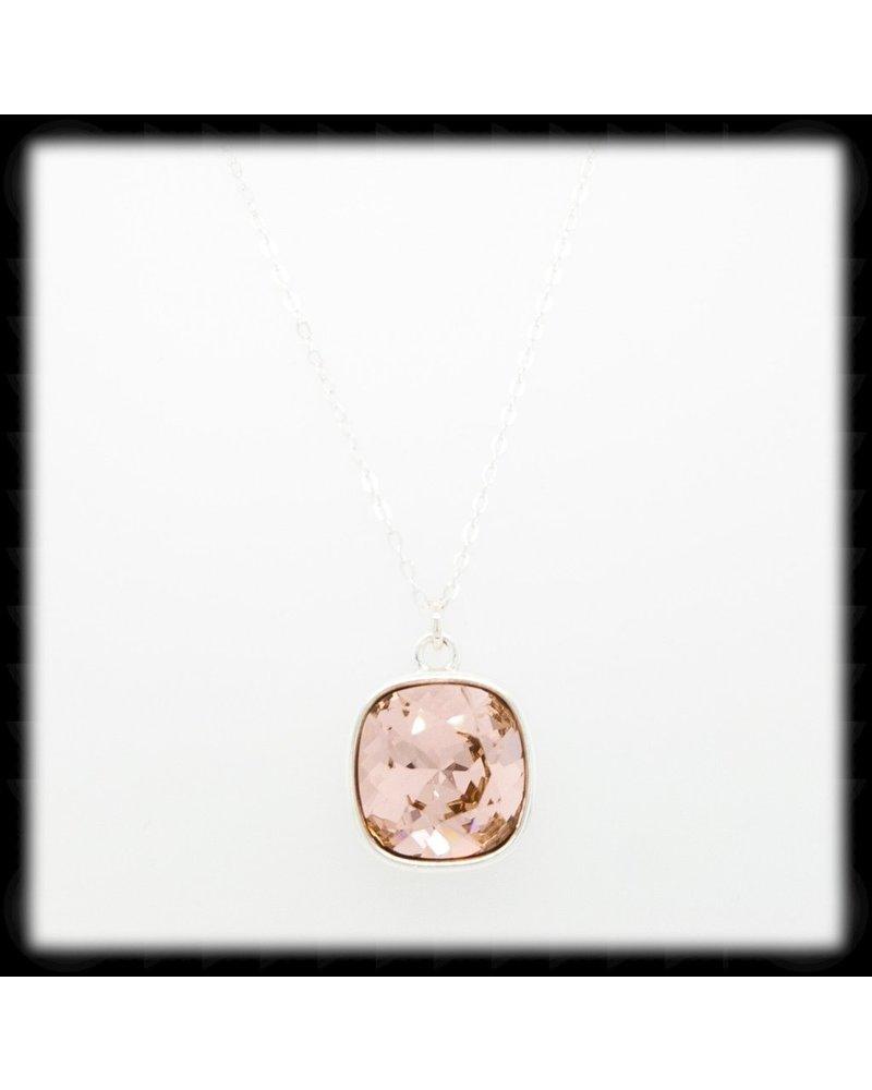 "The Beaded Wire Swarvoski Vintage Rose Silver 18"""