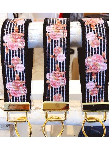 LippyClip Black/Blush Floral Keychain