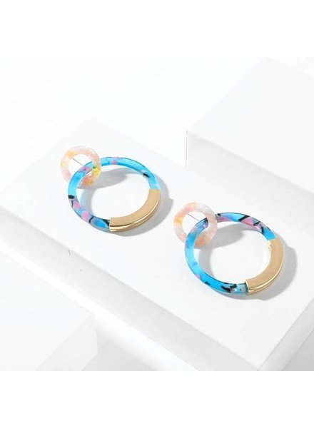 Koko & Lola Blue Marbled & Gold Double Hoops
