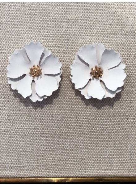 Koko & Lola White Flower Double Bloom Earrings