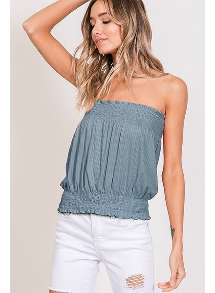 Faith Apparel Blue Smocked Tube Top