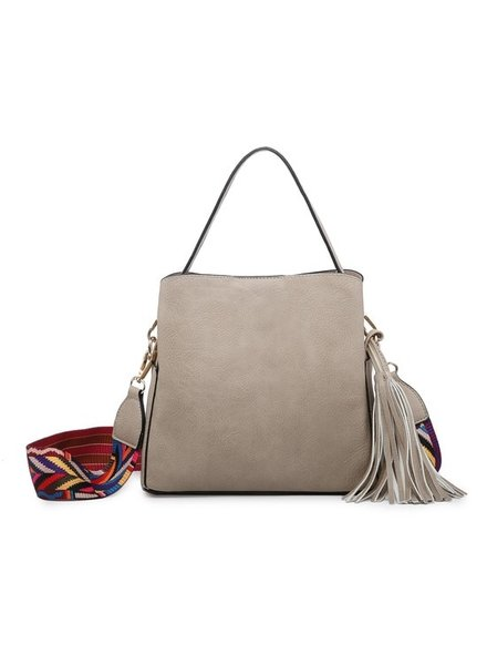 Jen & Co Beige Tassel Shoulder Bag