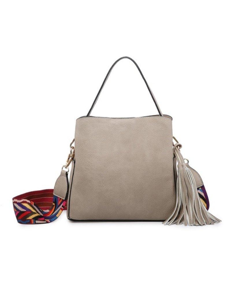 Jen & Co Beige Tassel Shoulder Bag