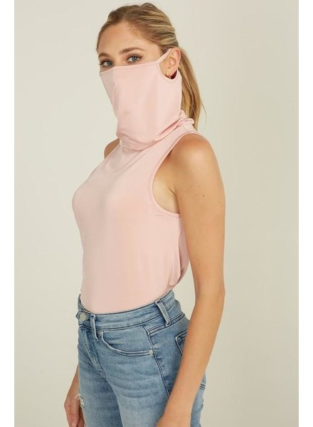 Blue Blush Dusty Rose Sleeveless Tank - Built in Mask