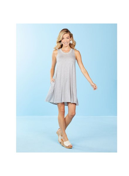 Mud Pie Gray Stripe June Dress