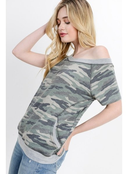 Cherish Camo Scoop Neck Top
