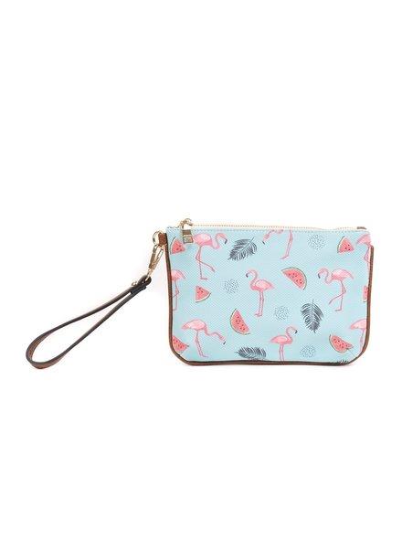 Jen & Co Flamingo Wristlet
