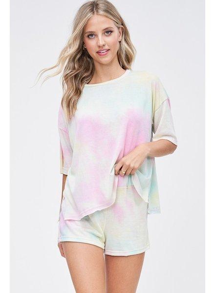Faith Apparel Pink/Light Mint Tie Dye Set